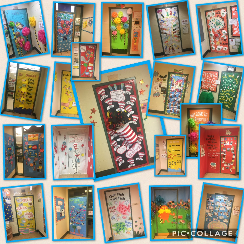 Photograph of classroom doors decorated