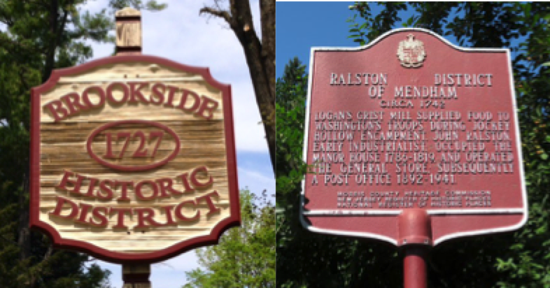 Historic Brookside and Mendham signs.
