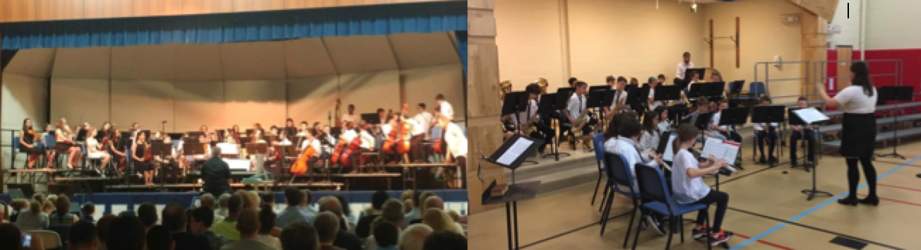 Students performing during a band concert.