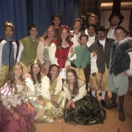 Group student picture backstage during the Shakespeare Festival