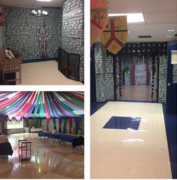 Mendham Township Middle School hallways during the Shakespeare Festival
